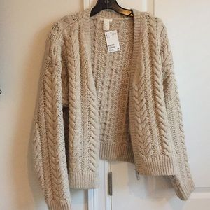 H&M Oversized Zip Cable Knit Cardigan Small